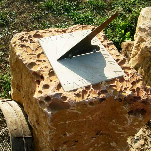 Commissions - bespoke stonemasonry for house and garden. Sundial.