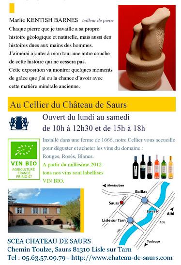 Expo et rencontre espace art chateau de saurs. Marlie Kentish Barnes expose ses sculptures sur pierre au Château de Saurs à Lisle sur Tarn entre Toulouse et Albi. Rencontre avec l'artiste à l'occasion des Journées du Patrimoine les 19 et 20 septembre 2015.